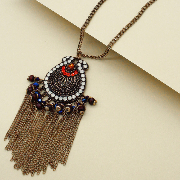 Zienna Embellished Tassel Necklace