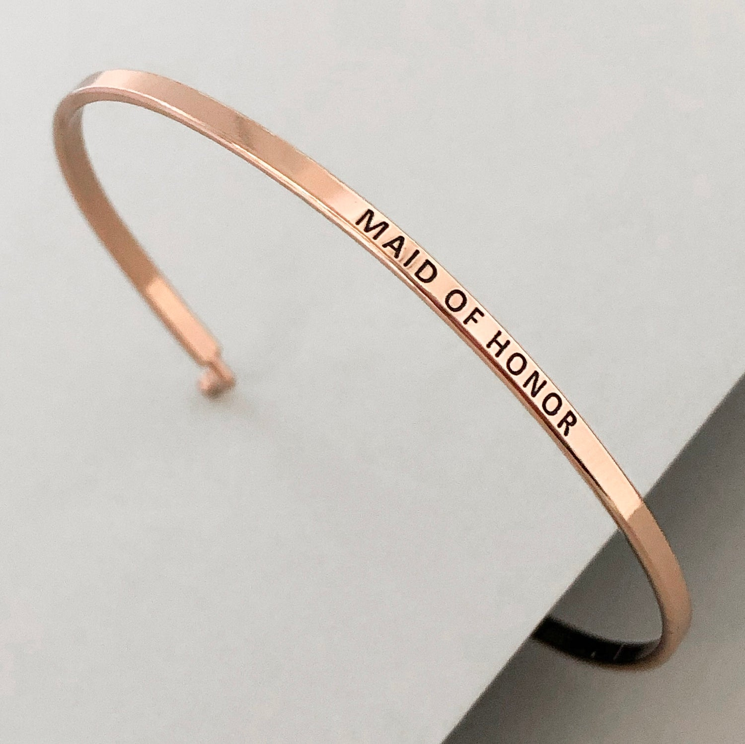 'Maid Of Honor' Dainty Bangle Bracelet-Rose Gold