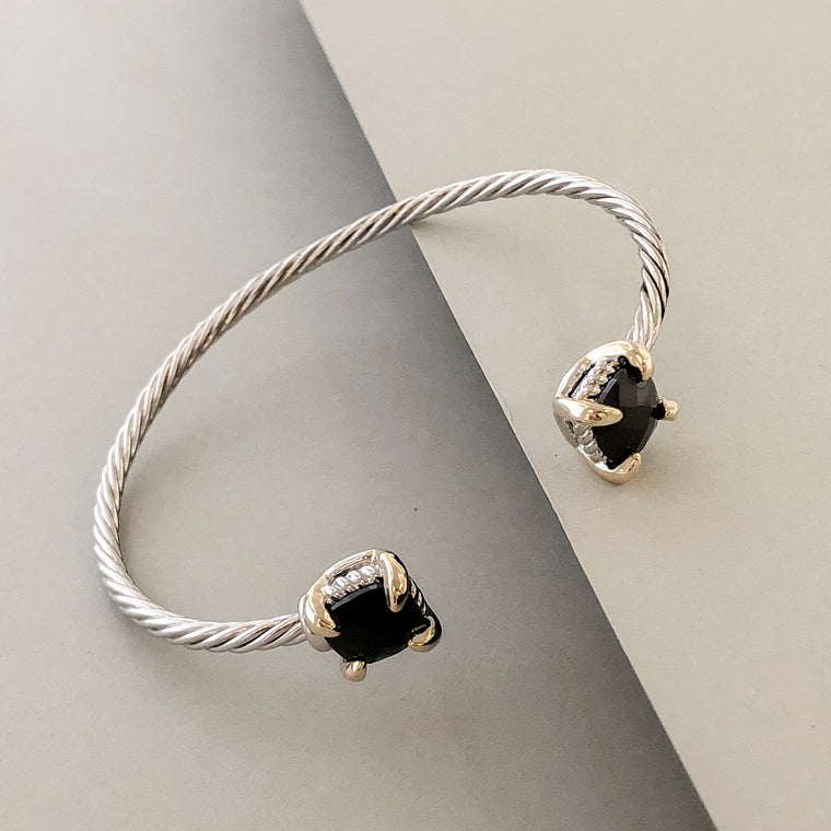 Stack It Up Bracelet Cuff- Onyx Ends