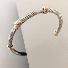 Stack It Up Bracelet Cuff- Two Tone Criss-Cross