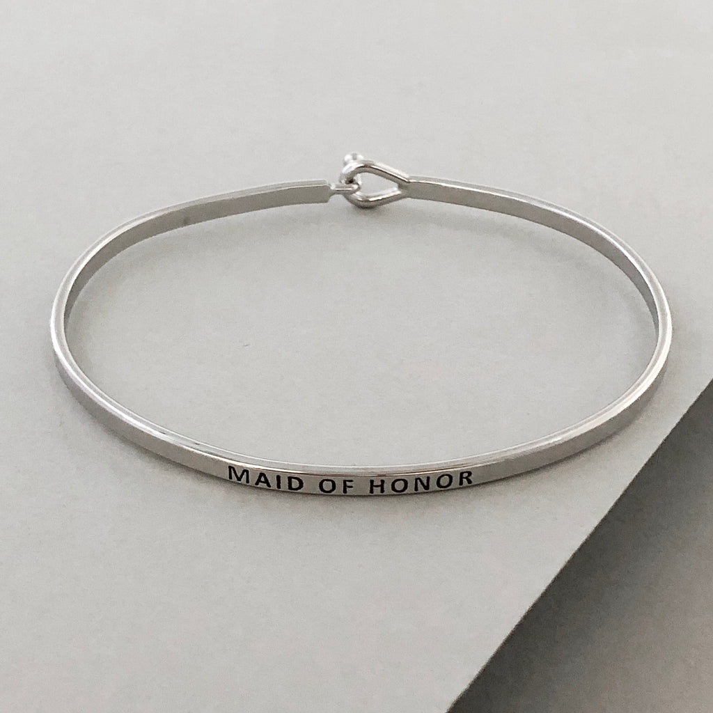 'Maid Of Honor' Dainty Bangle Bracelet-Silver