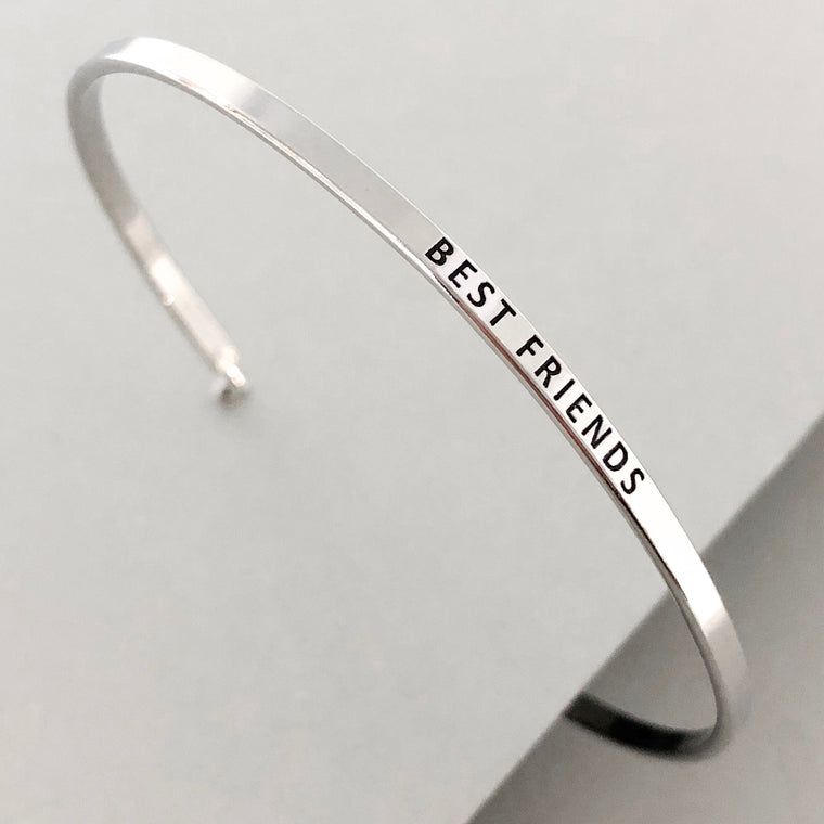 'Best Friends' Dainty Bangle Bracelet- Silver