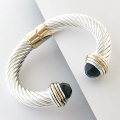 Stack It Up Thick Bracelet Cuff- Jeweled Black Stone