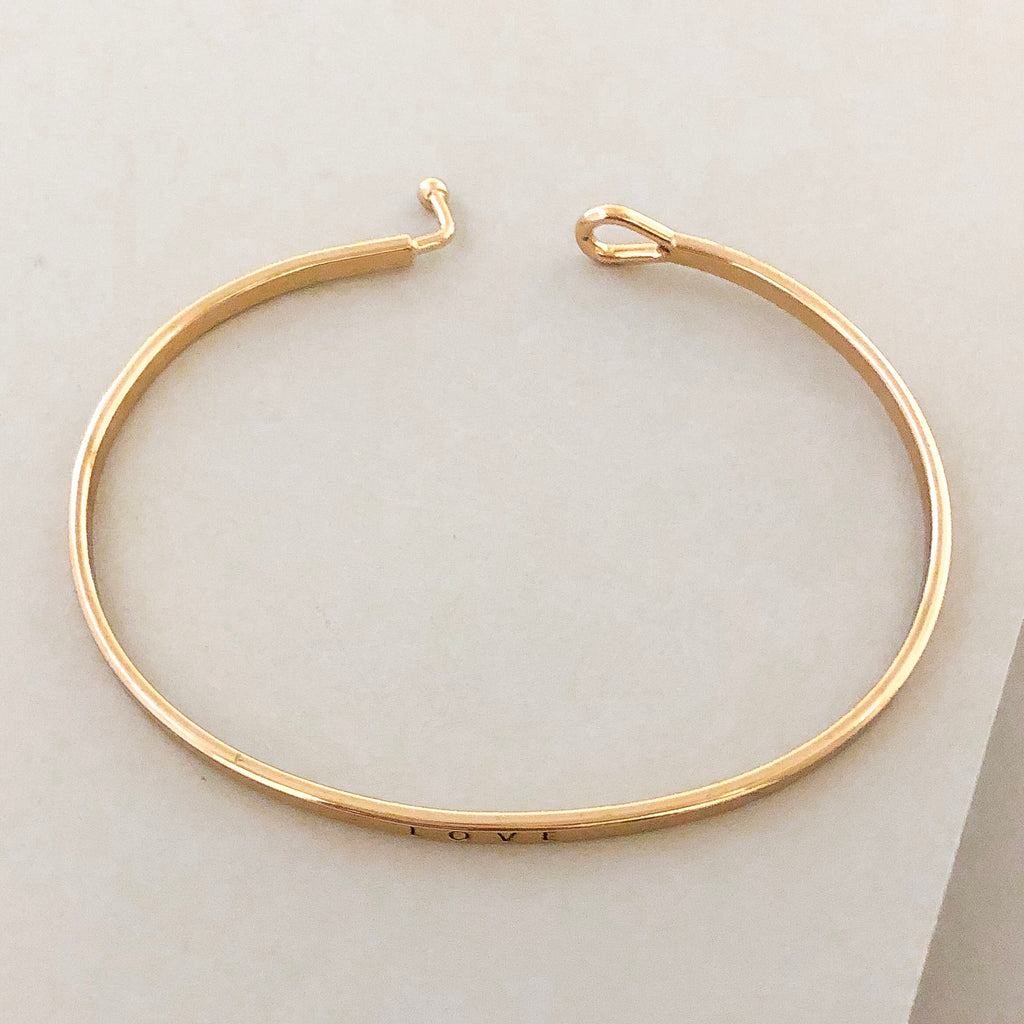 'Love' Dainty Bangle Bracelet-Gold