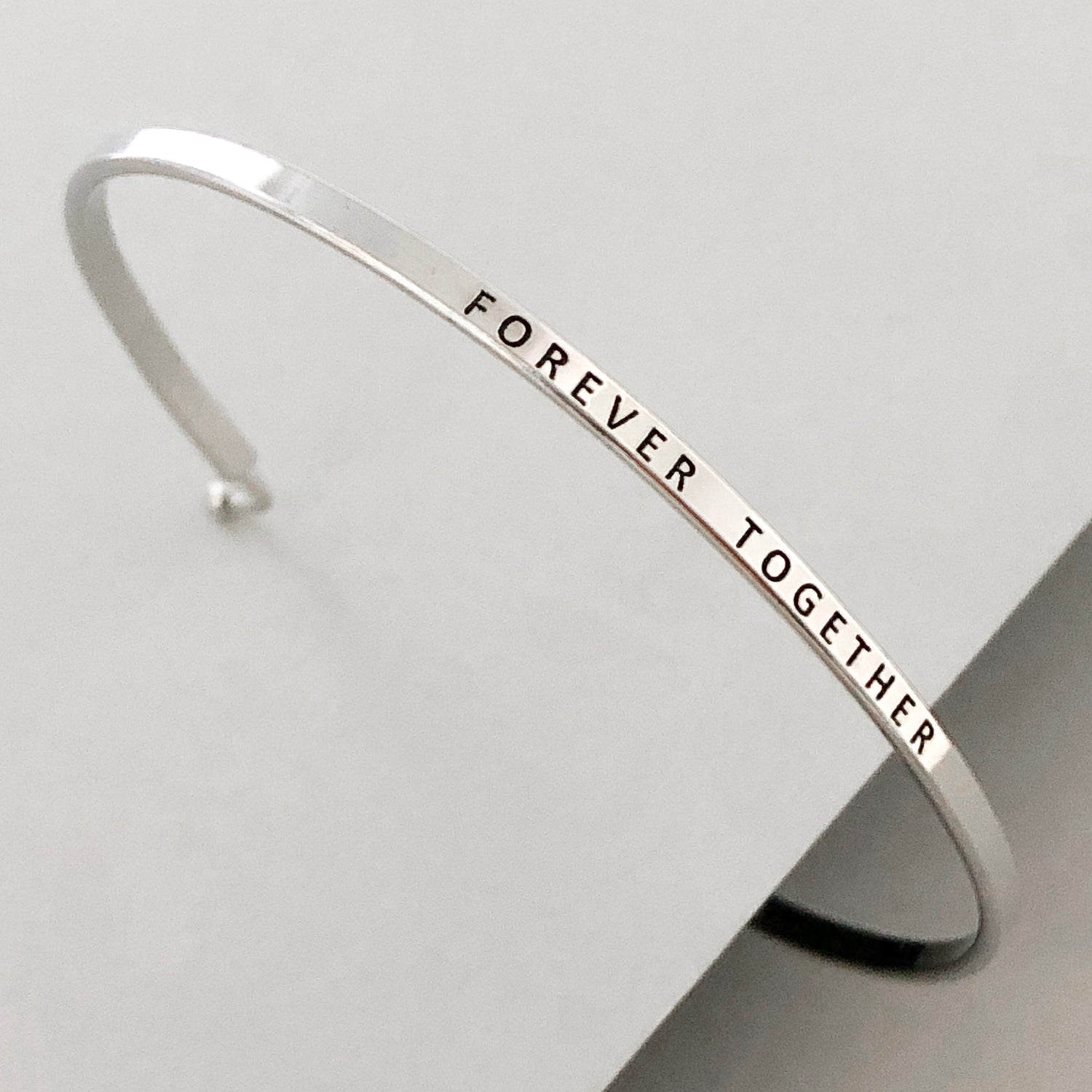 'Forever Together' Dainty Bangle Bracelet-Silver