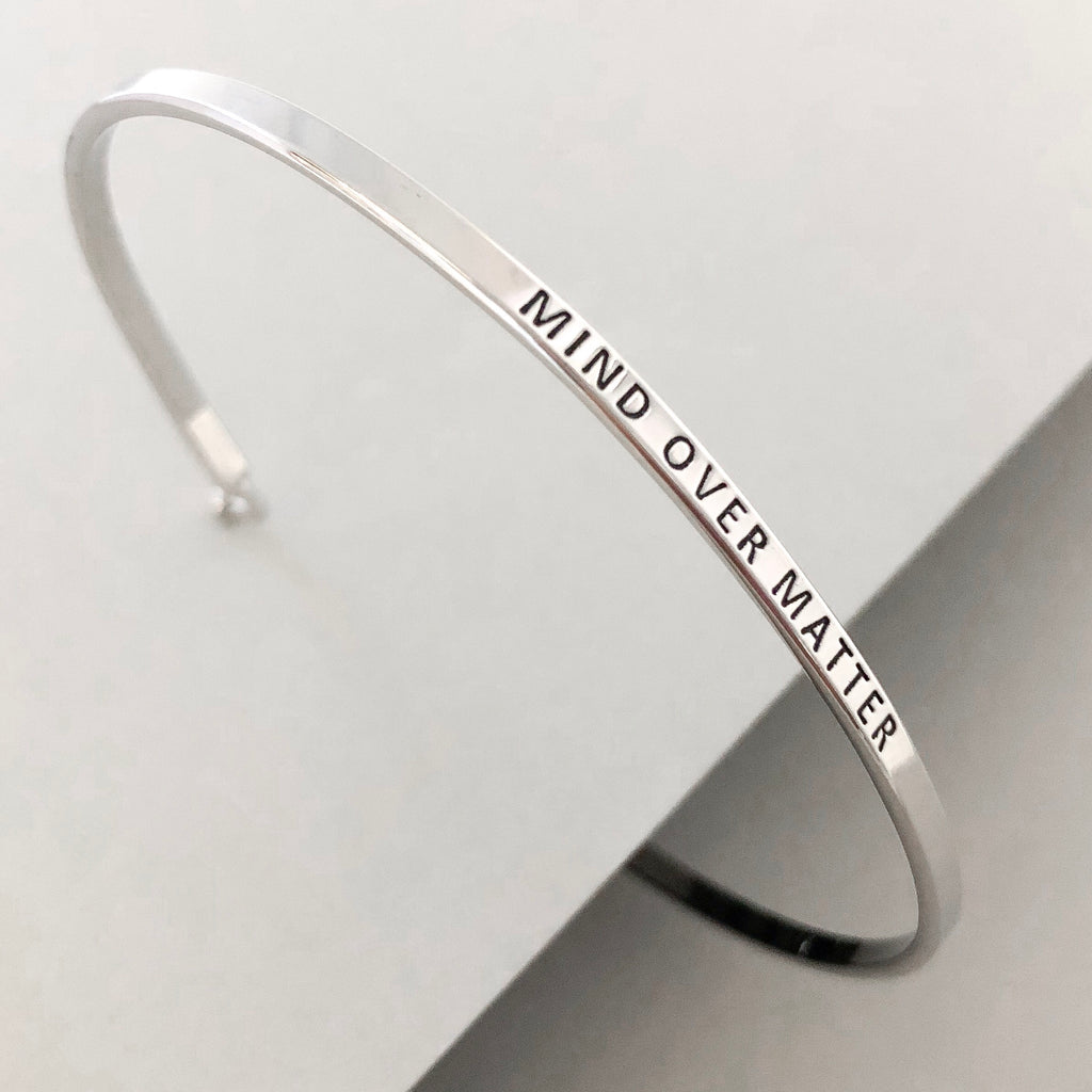 'Mind Over Matter' Dainty Bangle Bracelet-Silver