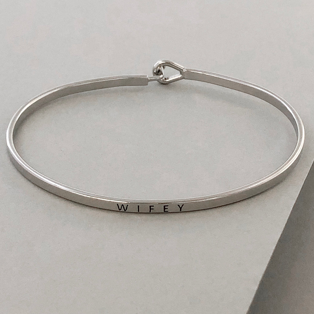 'Wifey' Dainty Bangle Bracelet-Silver