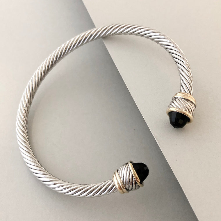 Stack It Up Bracelet Cuff- Black Stone