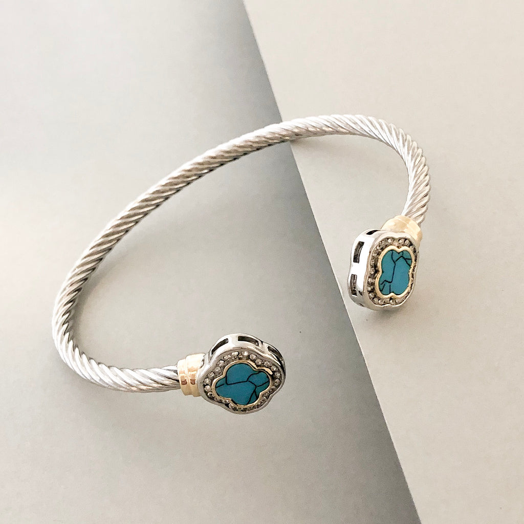 Stack It Up Bracelet Cuff- Turquoise Stone