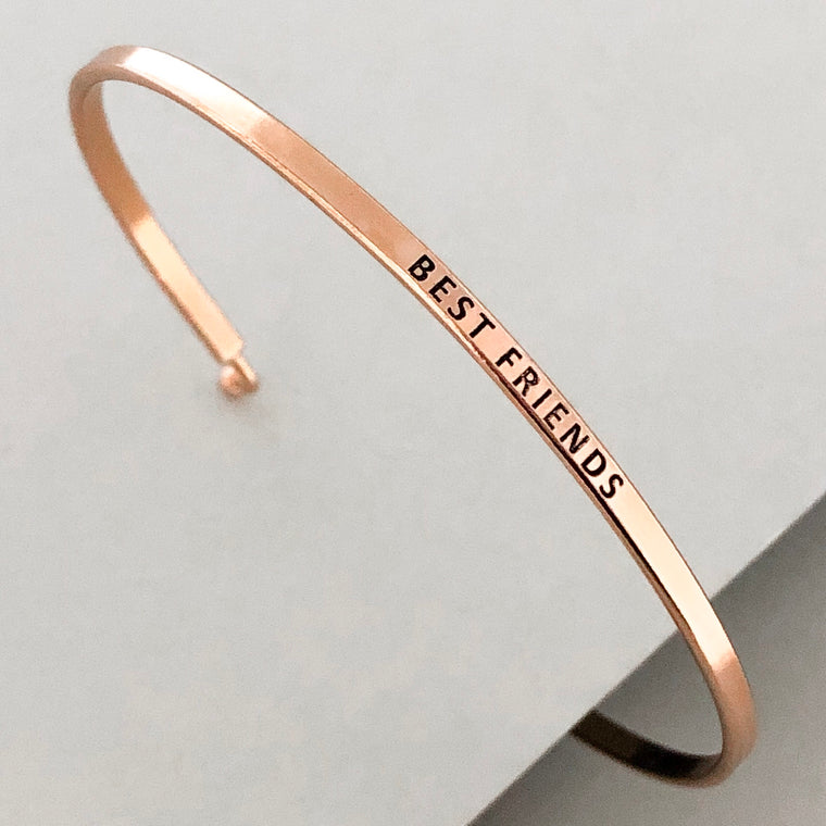 'Best Friends' Dainty Bangle Bracelet- Rose Gold