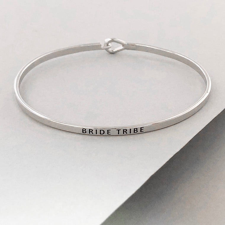 'Bride Tribe' Dainty Bangle Bracelet-Silver