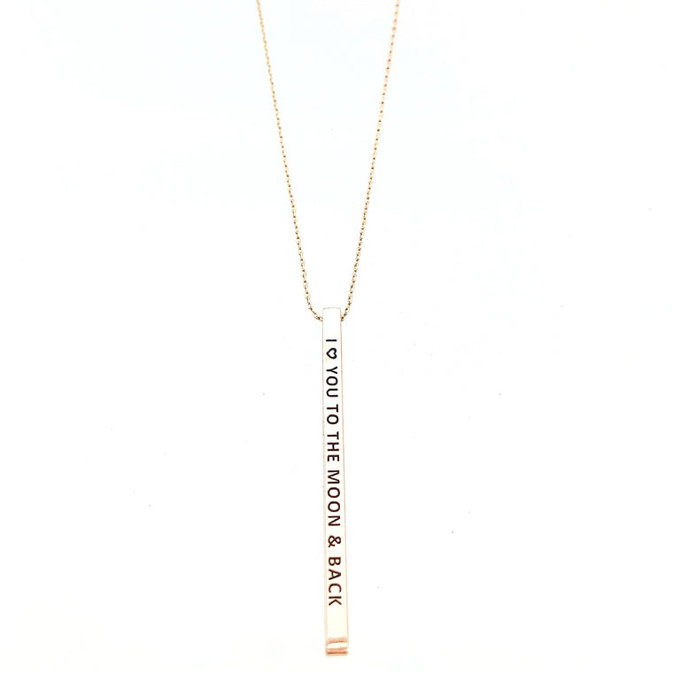 I LOVE YOU TO THE MOON & BACK Engraved Bar Necklace- 3 COLOR OPTIONS