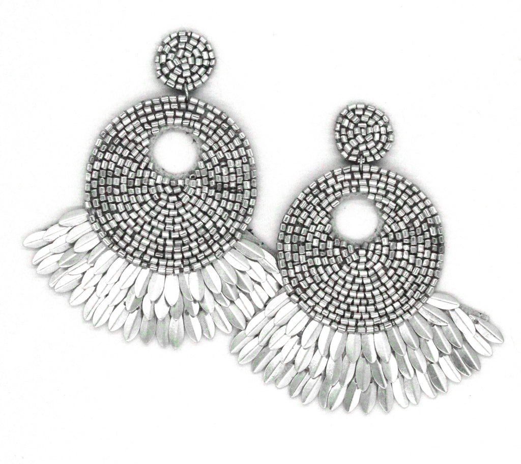Marissa Shell Spike Earrings- Silver