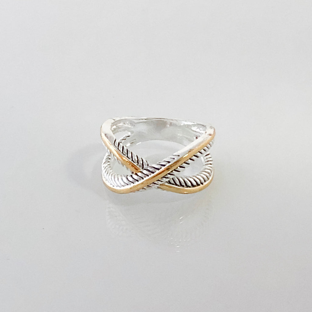 Valentina Criss-Cross Two Tone Ring- Size 7