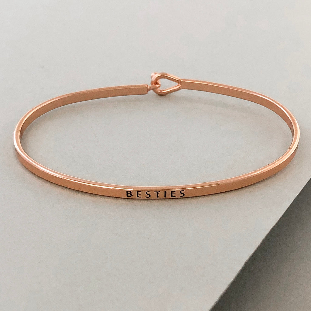 'Besties' Dainty Bangle Bracelet-Rose Gold