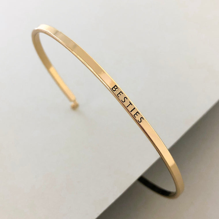 'Besties' Dainty Bangle Bracelet-Gold