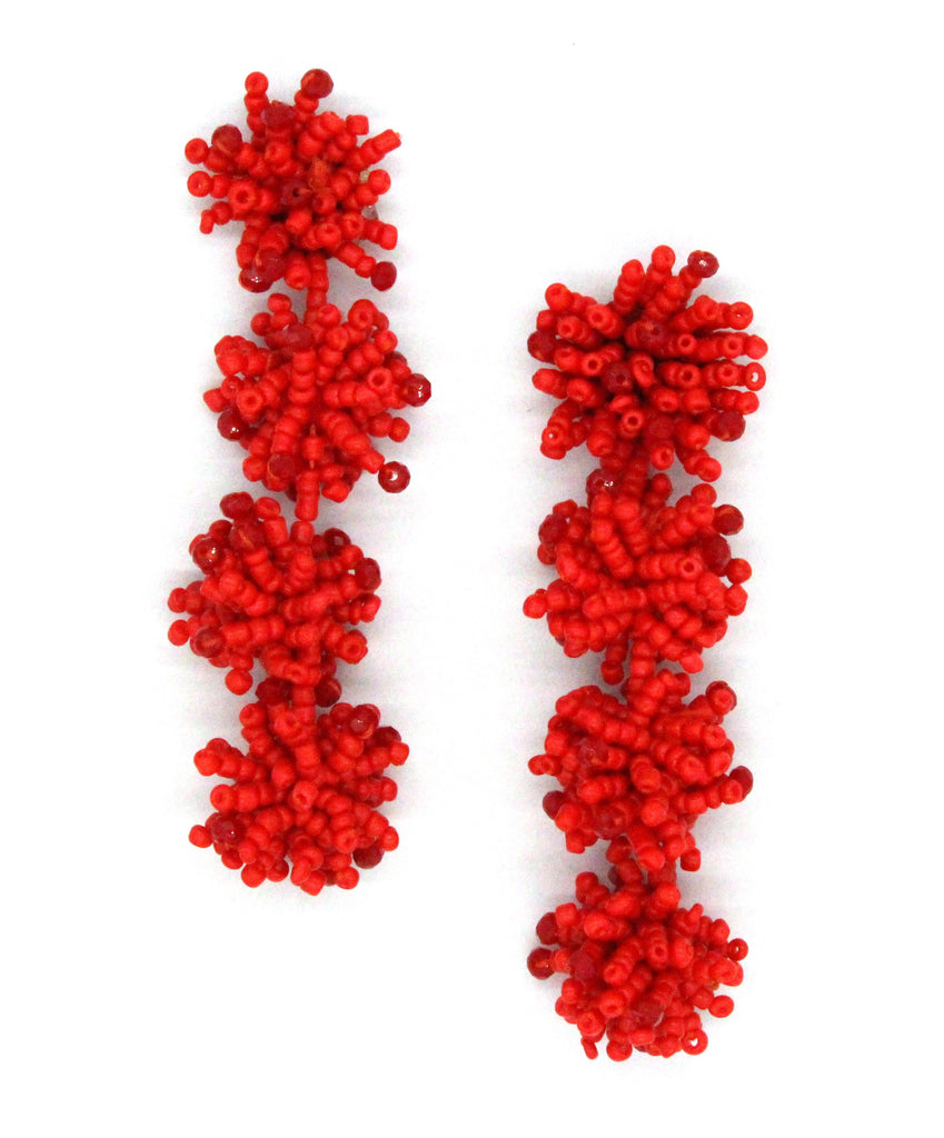 Beatriz Beaded Cluster Drop Earrings- Red