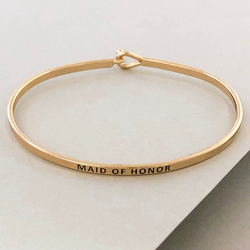 'Maid Of Honor' Dainty Bangle Bracelet-Gold