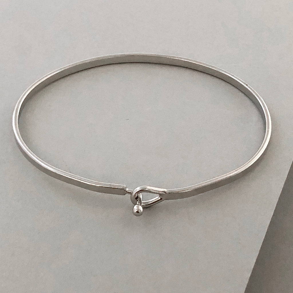 'Serenity Prayer' Dainty Bangle Bracelet-Silver