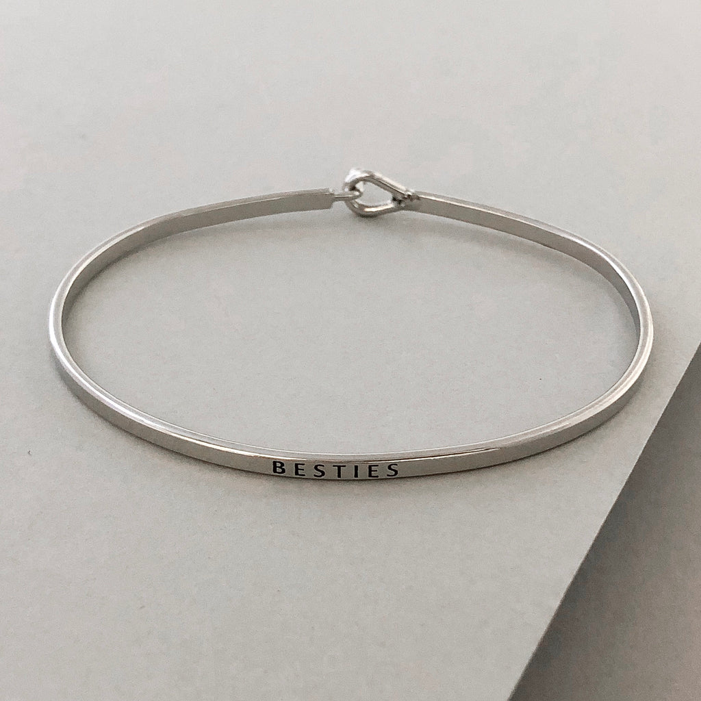 'Besties' Dainty Bangle Bracelet-Silver