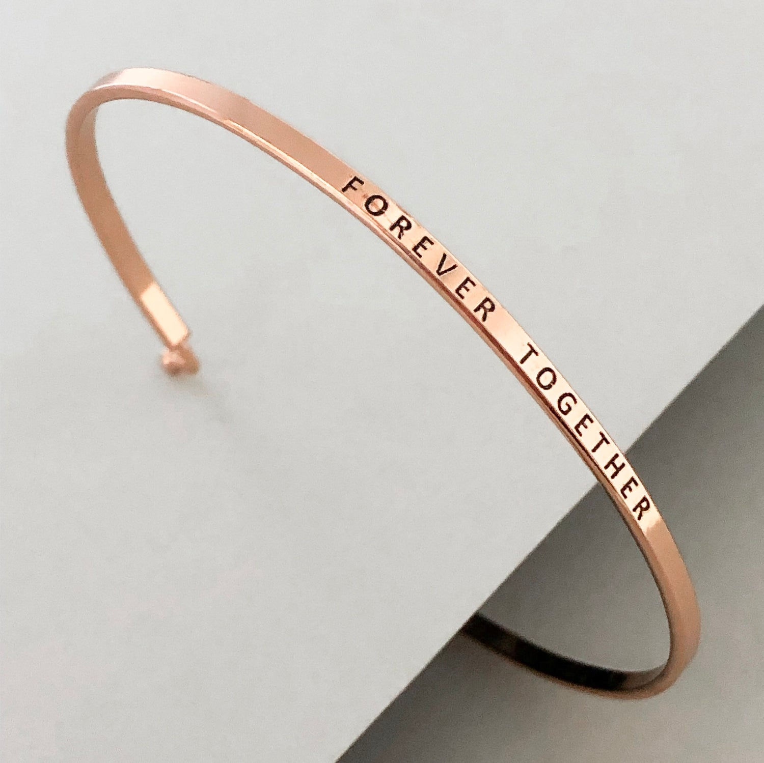 'Forever Together' Dainty Bangle Bracelet-Rose Gold
