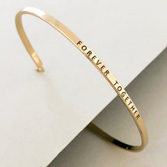 'Forever Together' Dainty Bangle  Bracelet-Gold