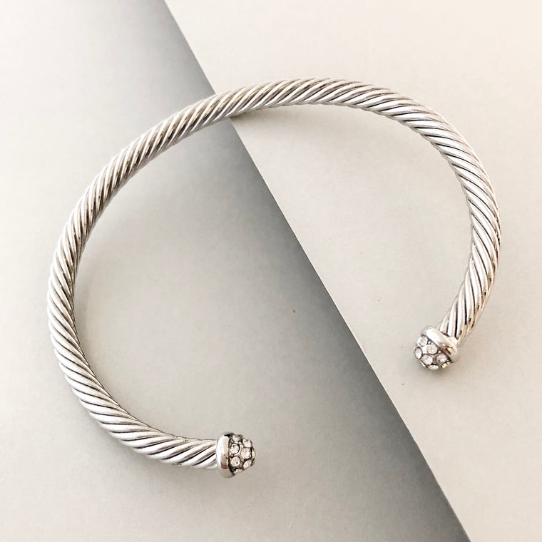 Stack It Up Bracelet Cuff- Pave Tips