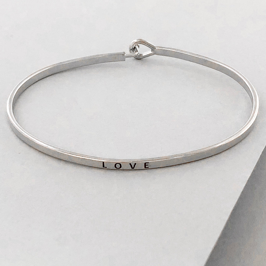 'Love' Dainty Bangle Bracelet-Silver