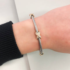 Stack It Up Wire Bangle Bracelet- Pavé Criss Cross