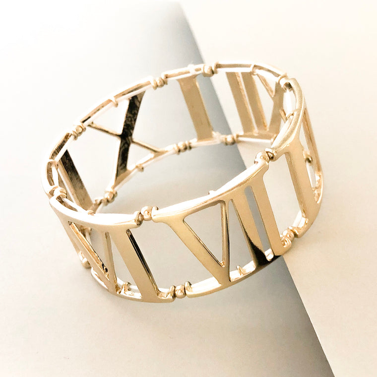 Roman Numeral Stretch Bracelet- Gold