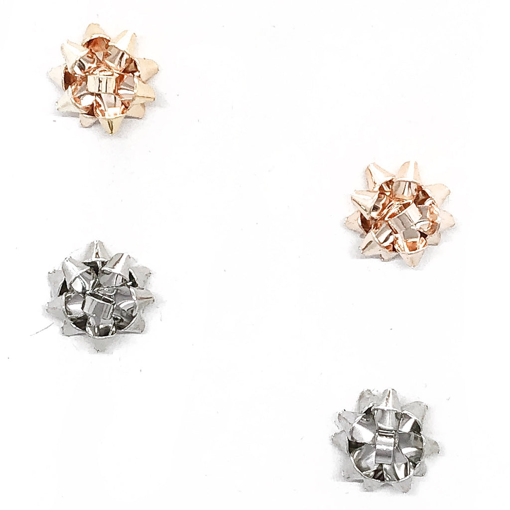 Festive Bow Stud Earrings Set of Two- Gold/ Silver