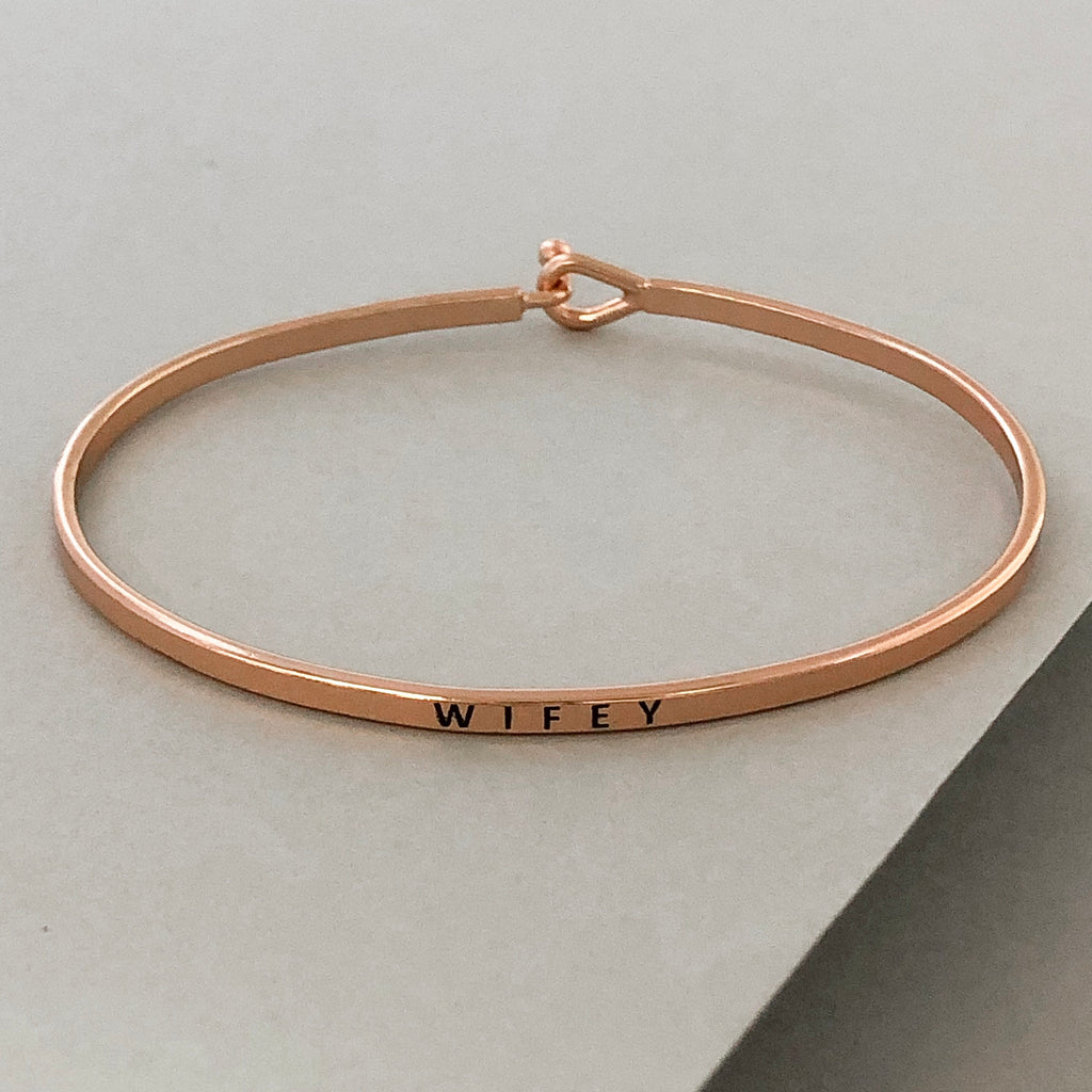 'Wifey' Dainty Bangle Bracelet-Rose Gold