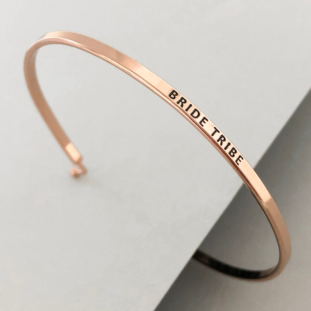 'Bride Tribe' Dainty Bangle Bracelet-Rose Gold