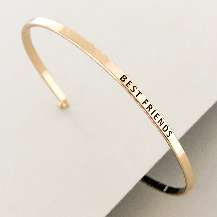 'Best Friends' Dainty Bangle Bracelet-Gold