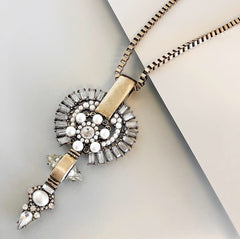 Embellished Medallion Long Necklace