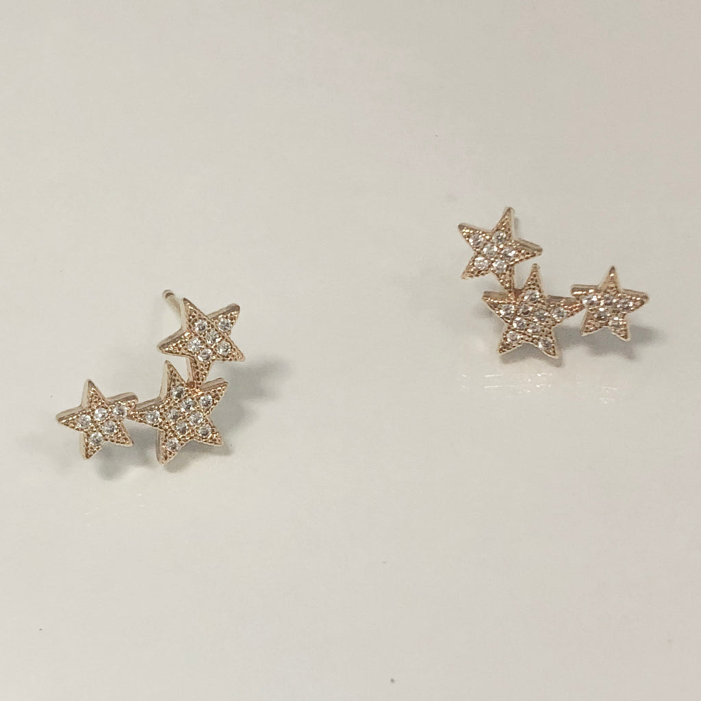 Star Cluster Ear Crawler Stud Earrings- Gold