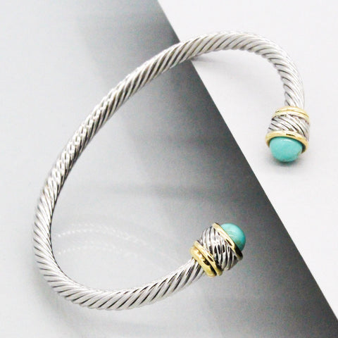 Stack It Up Bracelet Cuff- Mint Stone