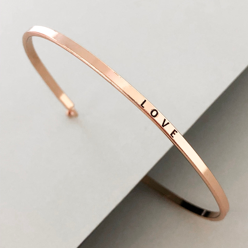 'Love' Dainty Bangle Bracelet-Rose Gold
