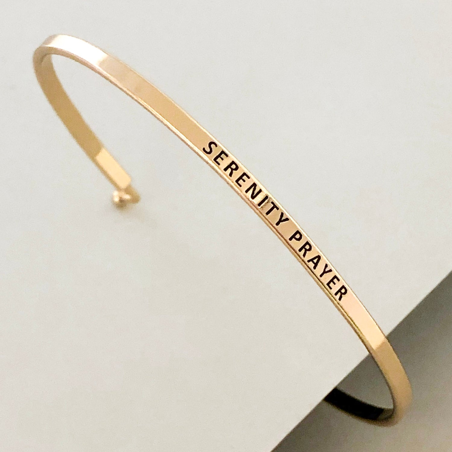 'Serenity Prayer' Dainty Bangle Bracelet-Gold