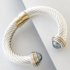 Stack It Up Thick Bracelet Cuff- Grey Pearl Stone
