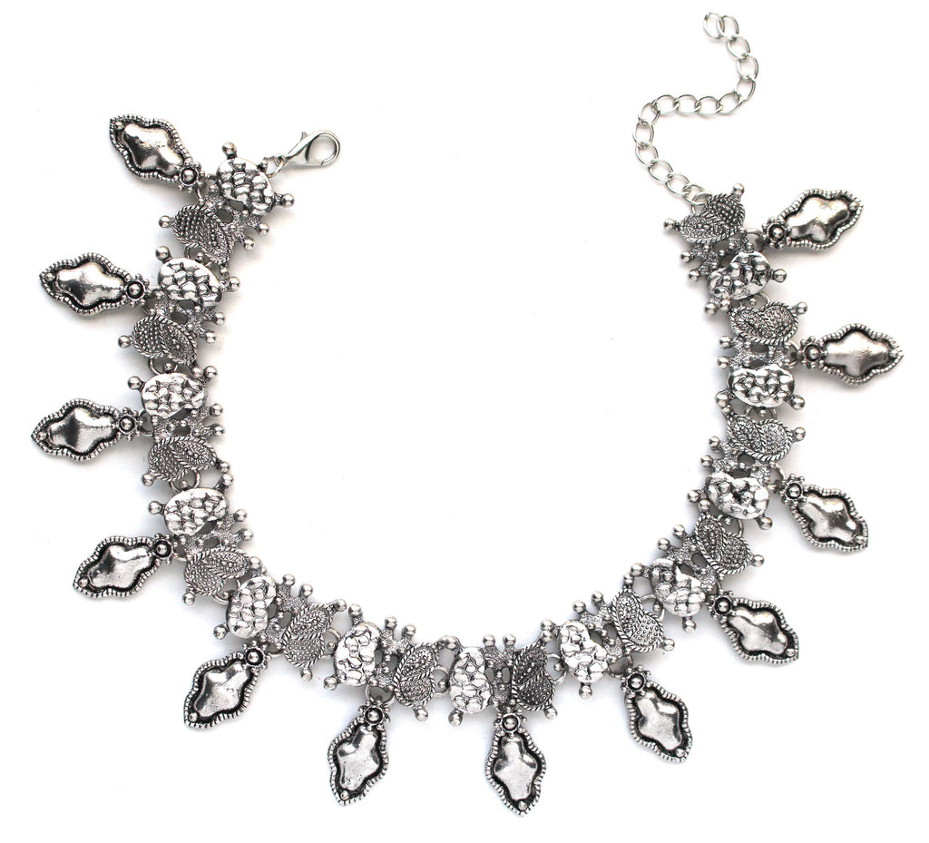 Saffron Metal Layered Choker Necklace Set- Silver