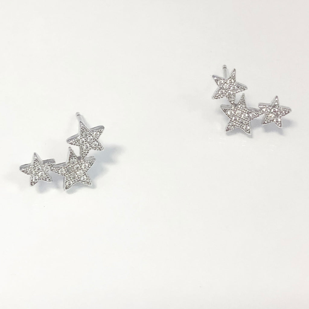 Star Cluster Ear Crawler Stud Earrings- Silver