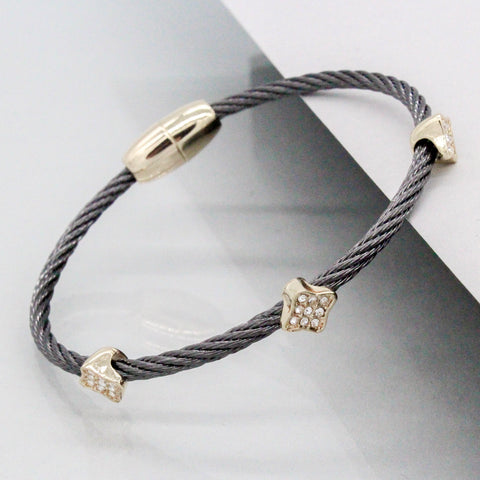 Stack It Up Wire Bangle Bracelet- Gunmetal / Pavé Clover Leaf