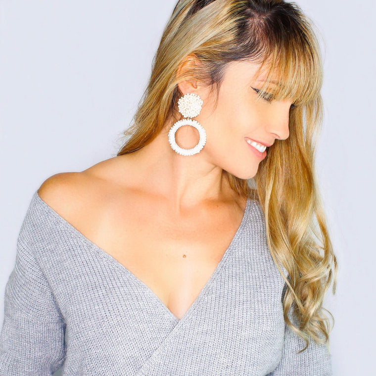 Jade Beaded Hoop Earrings- Ivory