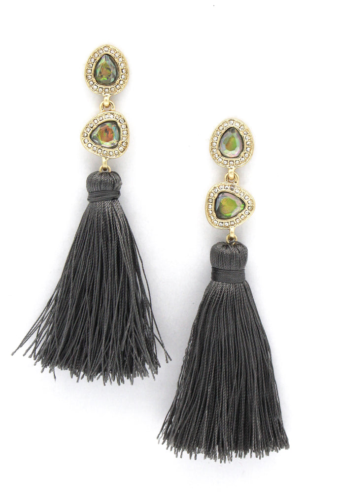 Misty Stone Tassel Earrings- Iridescent/ Grey