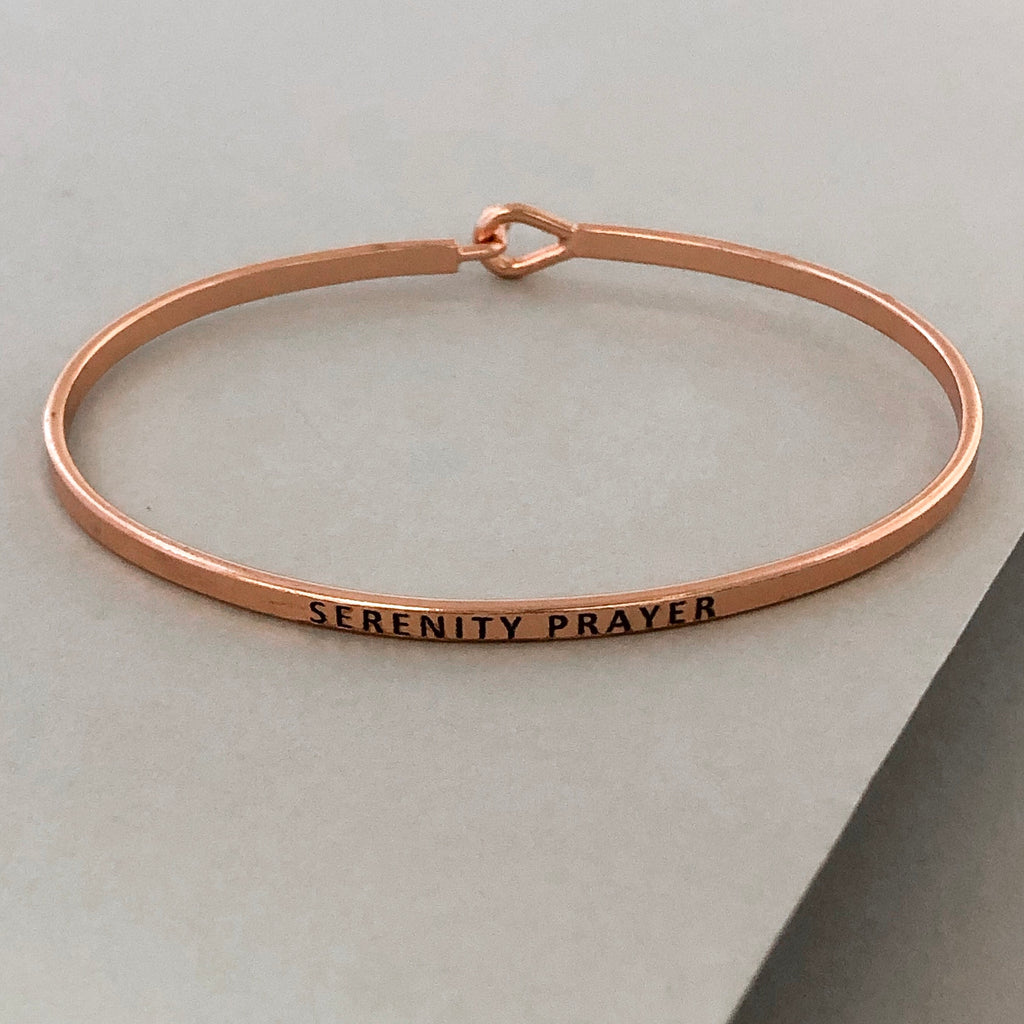'Serenity Prayer' Dainty Bangle Bracelet-Rose Gold
