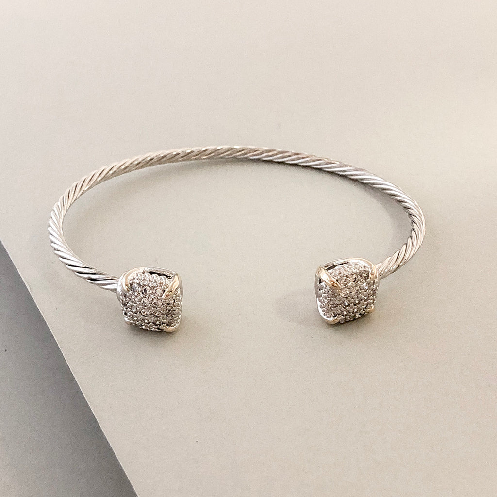 Stack It Up Bracelet Cuff- Square Pavé Ends