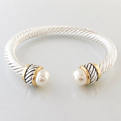 Stack It Up Thick Bracelet Cuff- Classic Pearl Tips