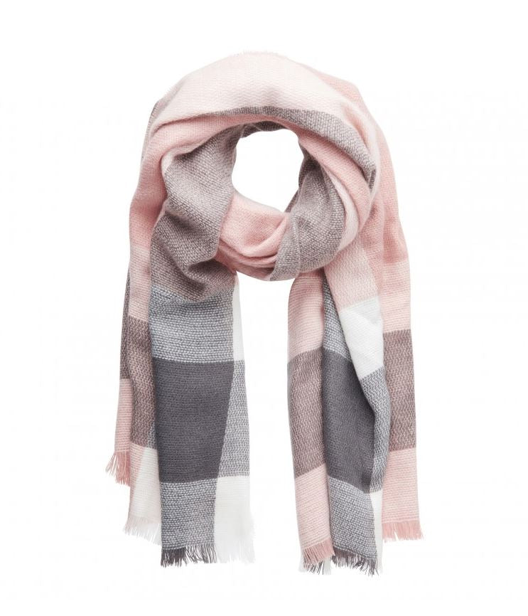 Mad For Plaid Blanket Scarf- Grey Pink