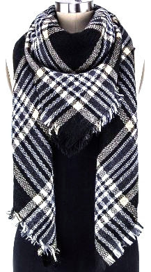 Mad For Plaid Blanket Scarf- Black Taupe